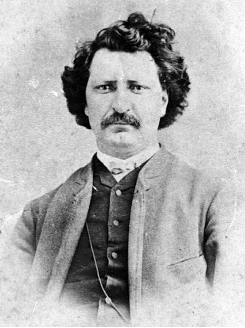 Black and white illustration of Louis Riel