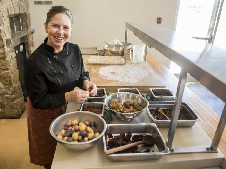 Chef Jennifer Lessard preparing meal